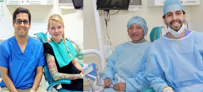 Pacientes felices luego de la cirugía de implantes